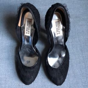 Badgley Mischka black mesh heels 6.5
